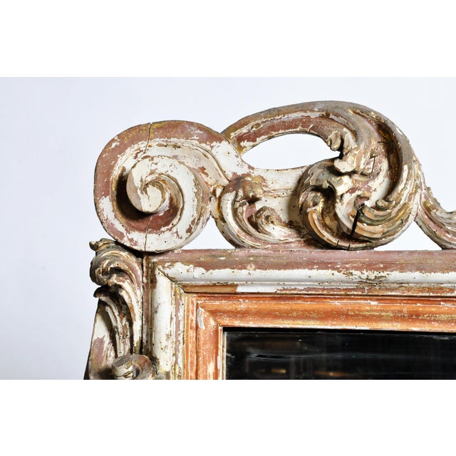19th Century Italian Mirror With Carved Scroll-Work For Sale - Image 4 of 11