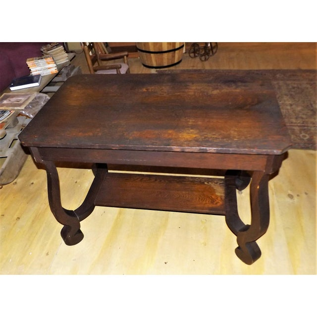 Antique Walnut Library Desk For Sale - Image 5 of 11