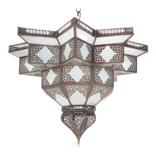 Large Moroccan Frosted Star Shape Glass Chandelier Shade For Sale