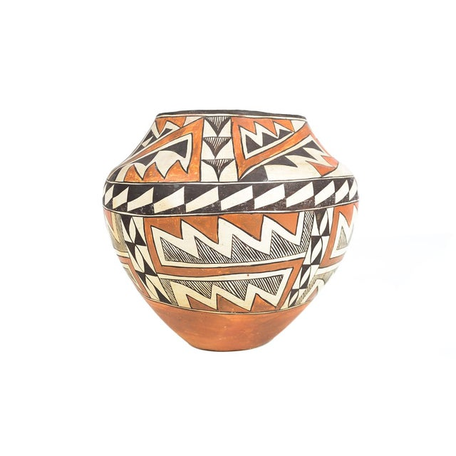 Ceramic Antique Native American Polychrome Pottery Jar Acoma For Sale - Image 7 of 9
