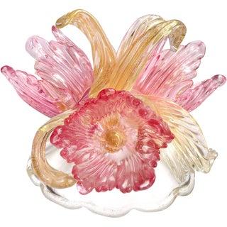 Murano Pink Flowers and Gold Flecks Italian Art Glass Centerpiece Sculpture For Sale