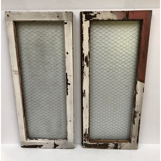 1890s Vintage Salvaged Police Station Chicken Wire Windows - a Pair For Sale - Image 4 of 13
