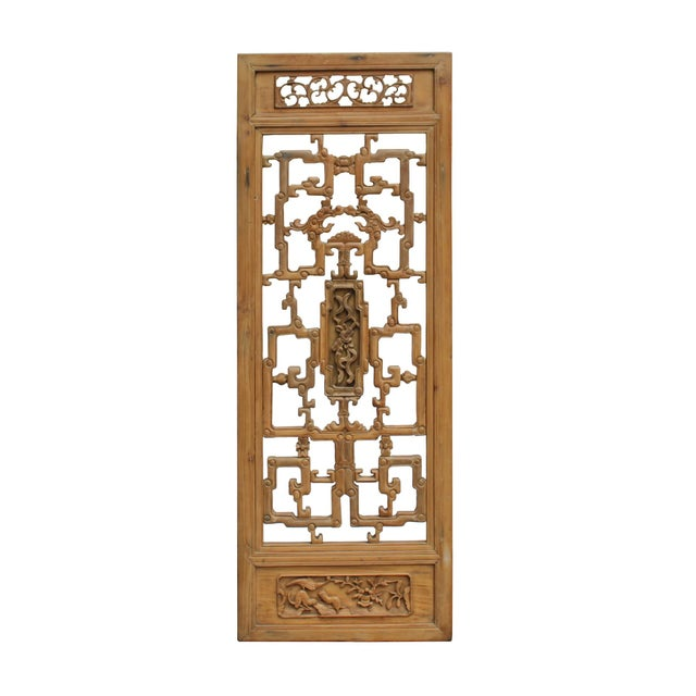 Chinese Vintage Light Brown Relief Motif Wood Wall Hanging Art For Sale - Image 10 of 10