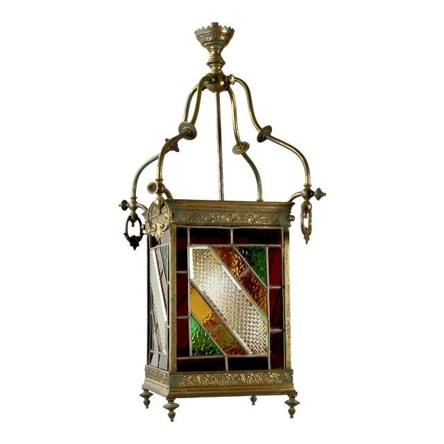 Victorian Brass and Stained Leaded Glass Hanging Hall Lantern c.1890 For Sale