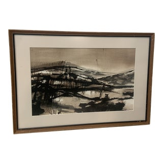 Mid 20th Century Modernist Abstract Watercolor Painting by Edna Robrahn, Framed For Sale