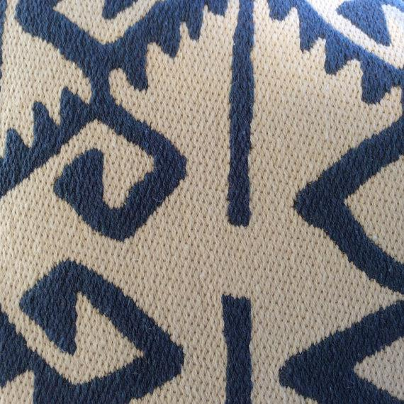 """Boho Chic Manuel Canovas Pillows in """"Kerala"""" Blue & White Woven Aztec Pattern - APair For Sale - Image 3 of 5"""