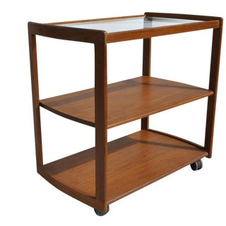Vintage Mid-Century Scandinavian Teak Bar Cart For Sale