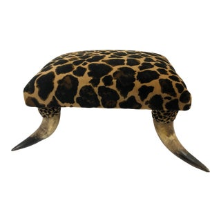 Antique Horn Footstool With New Animal Print Upholstery For Sale
