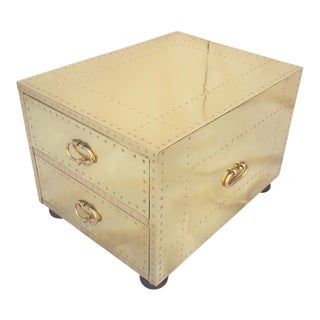 1970's Campaign Sarreid Ltd. Brass Two-Drawer Chest For Sale