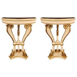 Pair of Parcel Paint and Gilt Decorated Marble-Top Demilune Console Tables For Sale