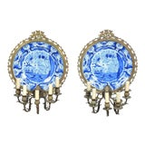 Image of Pair of Dutch Delft Blue and White Chargers / Sconces For Sale