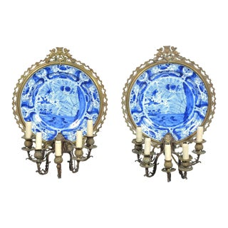 Pair of Dutch Delft Blue and White Chargers / Sconces