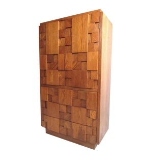 Lane Brutalist Mid-Century Oak Armoire Chest Dresser