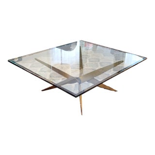 Gold Pedestal Modern Glass Coffee Table