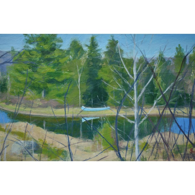 """Figurative """"Canoe With Pond and Mountains"""" Contemporary Painting by Stephen Remick For Sale - Image 3 of 9"""