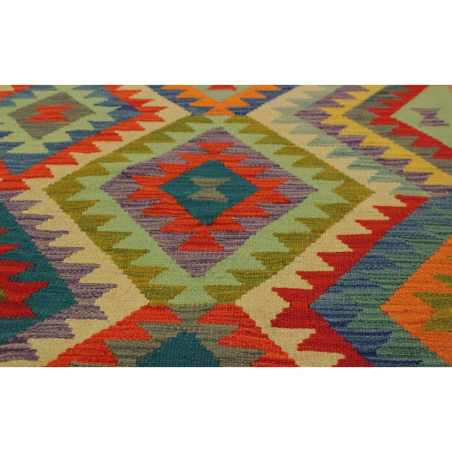Lan Ivory/Blue Hand-Woven Kilim Wool Rug -8'1 X 9'7 For Sale In New York - Image 6 of 8