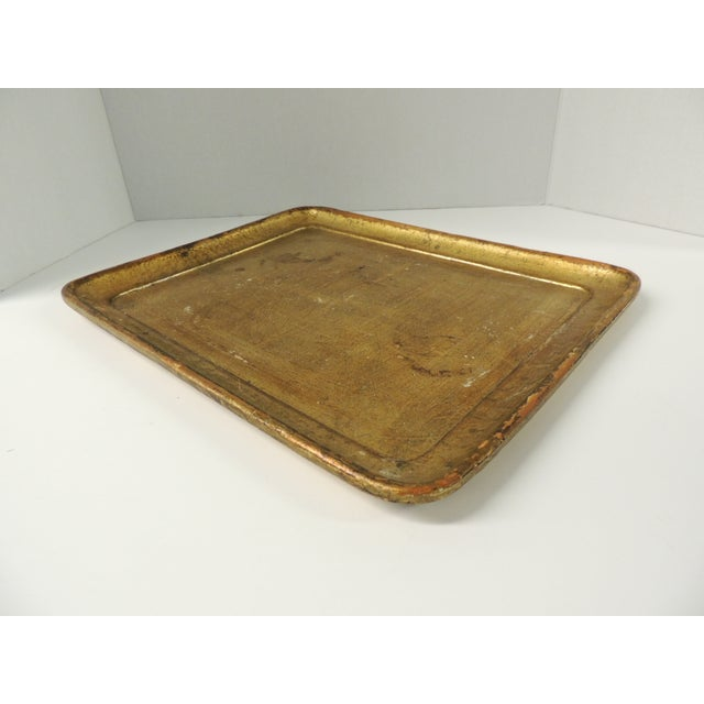 Italian Vintage Italian Gold Leaf Serving Tray For Sale - Image 3 of 5