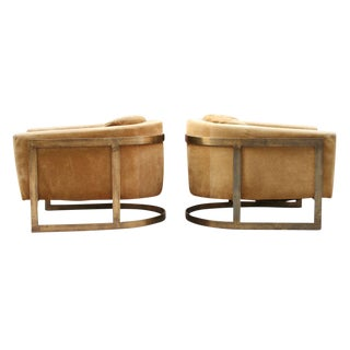 Bronze Frame Upholstered Barrel Lounge Chairs - a Pair For Sale