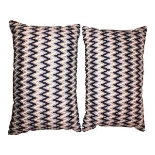 Wavy Chevron Embroidered Pillows - A Pair