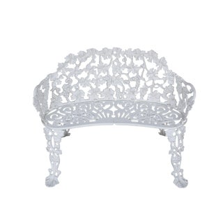 """Early 20th Century Neoclassical Ornate French """"Grape Vine"""" White Cast Iron Garden Bench For Sale"""