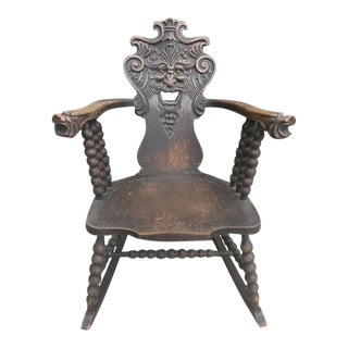 Antique Green Man Rocking Chair C.1800 For Sale