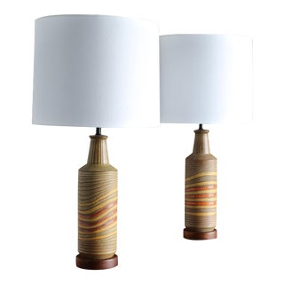 Aldo Londi Ceramic Table Lamps for Bitossi, 1960 - a Pair For Sale