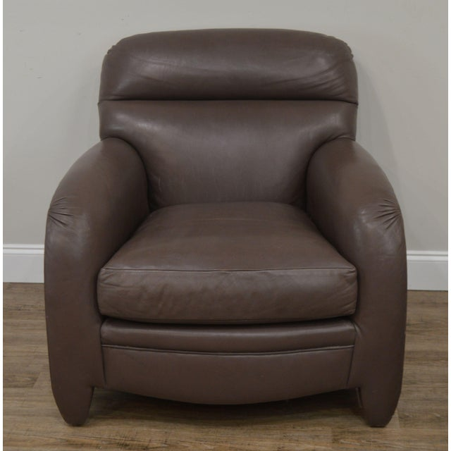 Donghia Donghia Leather Lounge Chair With Ottoman For Sale - Image 4 of 13