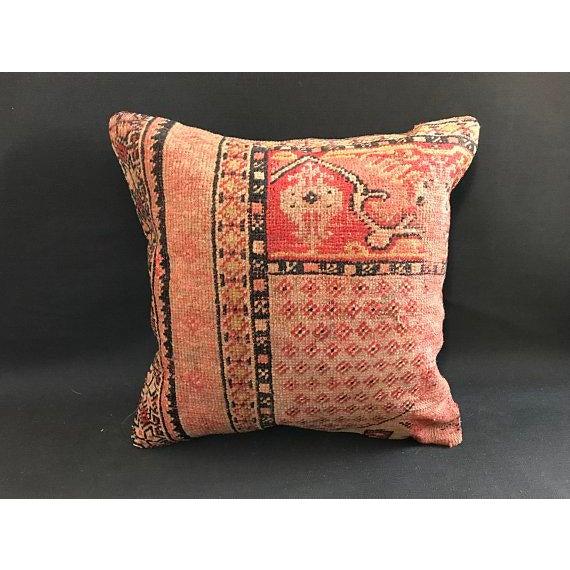 1960s Americana Handwoven Oushak Orange Pillow Case For Sale - Image 9 of 9