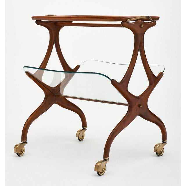 Italian Modernist Magazine/Bar Cart by Cesare Lacca For Sale - Image 9 of 11