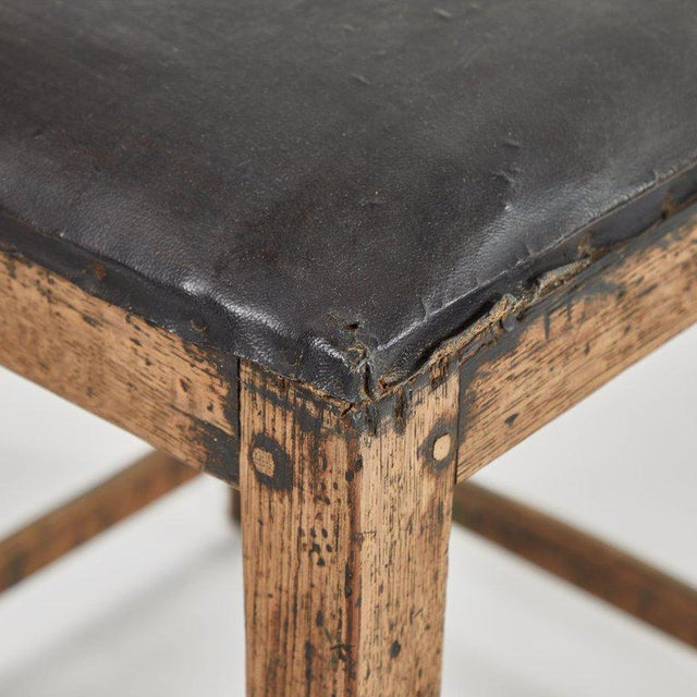 Rustic Low Stool With Black Upholstered Top For Sale - Image 4 of 5