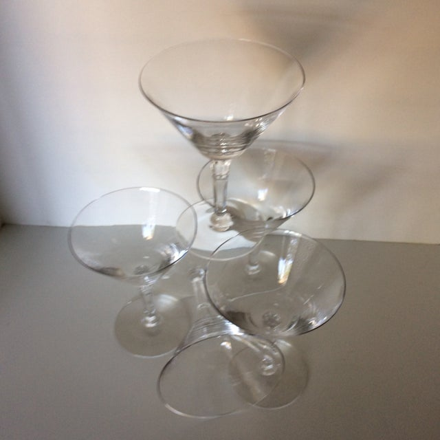 Blown Glass Set of 5 Cocktail or Champagne Glasses by Fostoria For Sale - Image 7 of 13