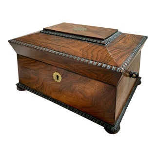 Traditional Rosewood Sewing Box For Sale