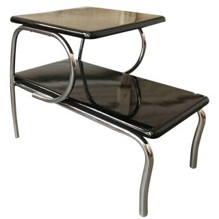 Wolfgang Hoffmann Style Art Deco Chrome & Micarta Side Table For Sale