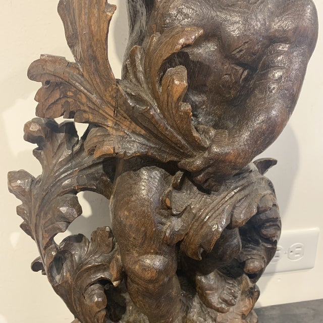 Figurative 18th Century Antique Wood Carved Statue For Sale - Image 3 of 13