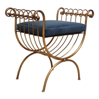 Italian Gilded Metal Stool or Bench With Blue Velvet Cushion by S. Salvadori For Sale