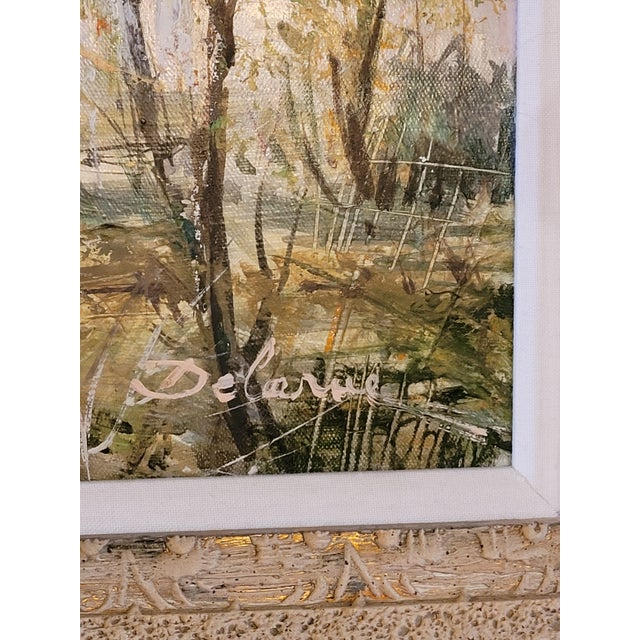 French Country 1960s French Impressionist Style Rural Scene Oil Painting by Lucien Delarue, Framed For Sale - Image 3 of 6