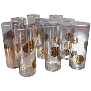 Set of Nine Piero Fornasetti High Glasses, Italy, 1970s For Sale