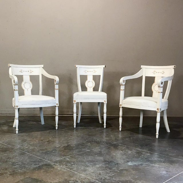 Set of 8 French Directoire Painted Chairs Includes 2 Armchairs For Sale - Image 12 of 13