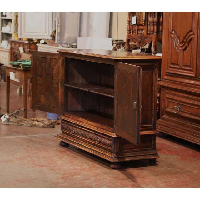 19th Century Italian Carved Walnut Two-Door Buffet Cabinet With Bottom Drawer For Sale - Image 9 of 13