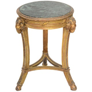 Classical Form Round Giltwood Table with Marble Top For Sale