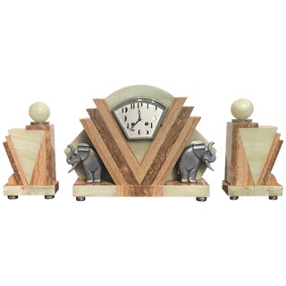 1930s Art Deco Onyx Garniture and Clock Set - 3 Piece Set