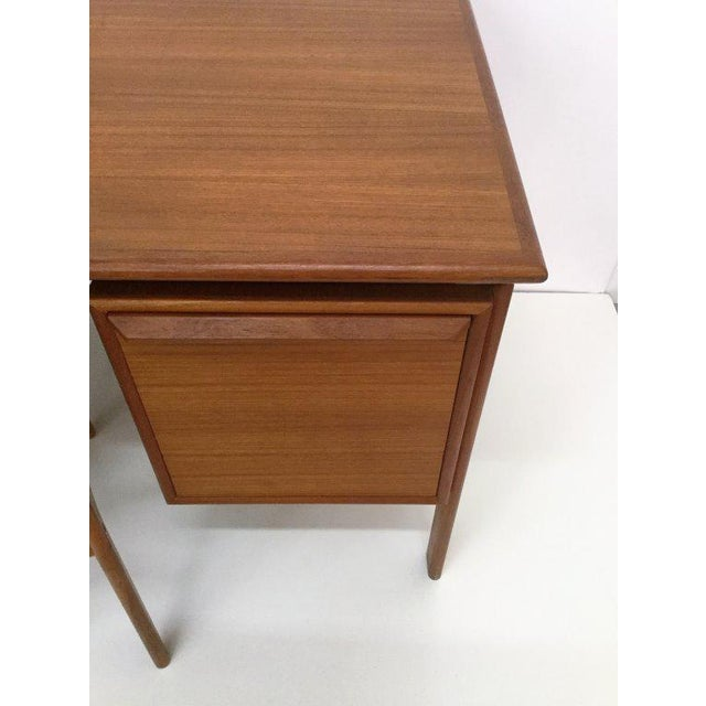 Turquoise Danish Teak Double Pedestal Desk with Matching Chair For Sale - Image 8 of 10