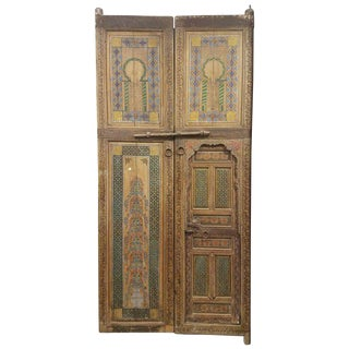 1970s Moroccan Hand-Painted Double Door