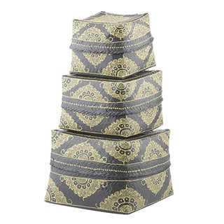 Dove Gray & Marigold Bamboo Baskets - Set of 3 For Sale