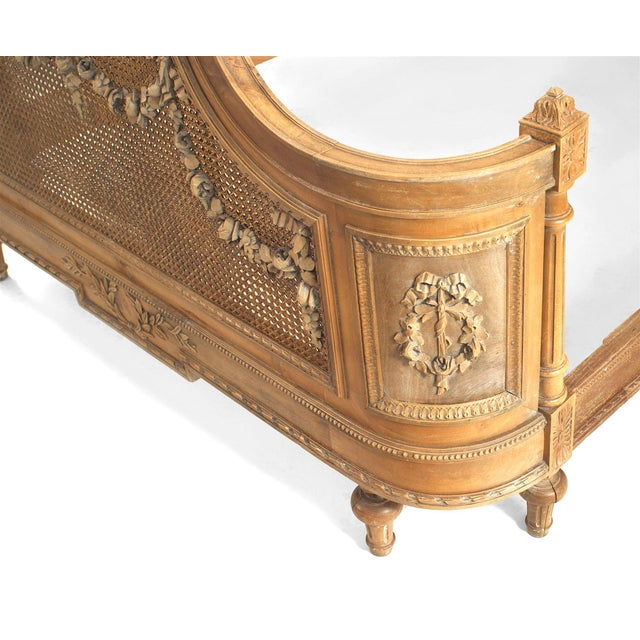 French Louis XVI Style Carved Walnut and Cane Bed For Sale In New York - Image 6 of 7