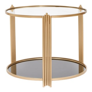 Contemporary Sydney Round Gold End Table For Sale