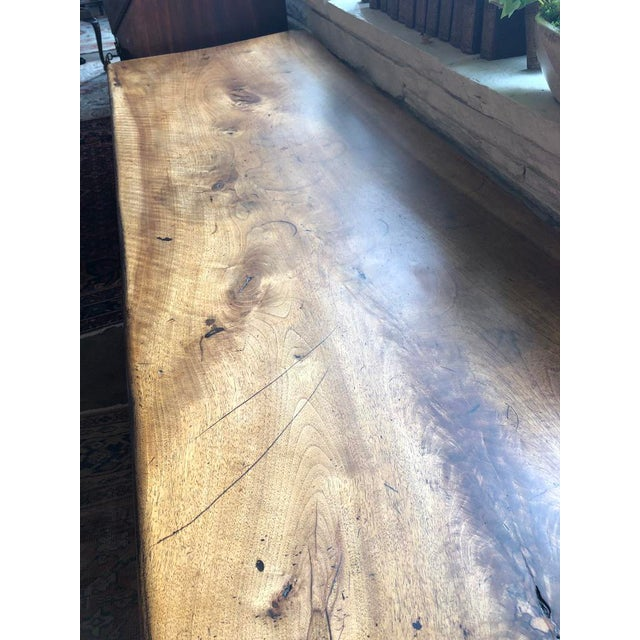 Wood Northern Italian 19th Century Walnut Trestle Table For Sale - Image 7 of 11