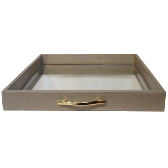 Large Shagreen-Texture Mirrored Tray - Image 1 of 7