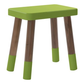 Tippy Toe Kids Chair in Walnut and Green Finish For Sale