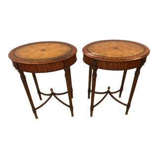 1980s Traditional Maitland Smith Oval Side Tables - a Pair For Sale